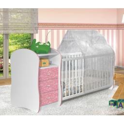 ZN- CUNA INFANTIL 3 CAJONES ROSADA